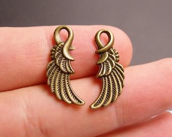 24 Angel wing charms - brass bronze angel wings -  BAZ104