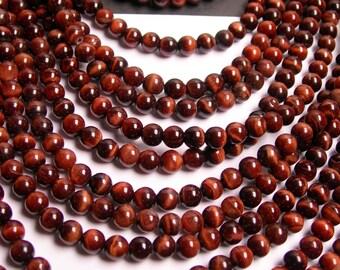 Red tiger eyes - 6 mm round - 68 beads per strand full strand - RFG86