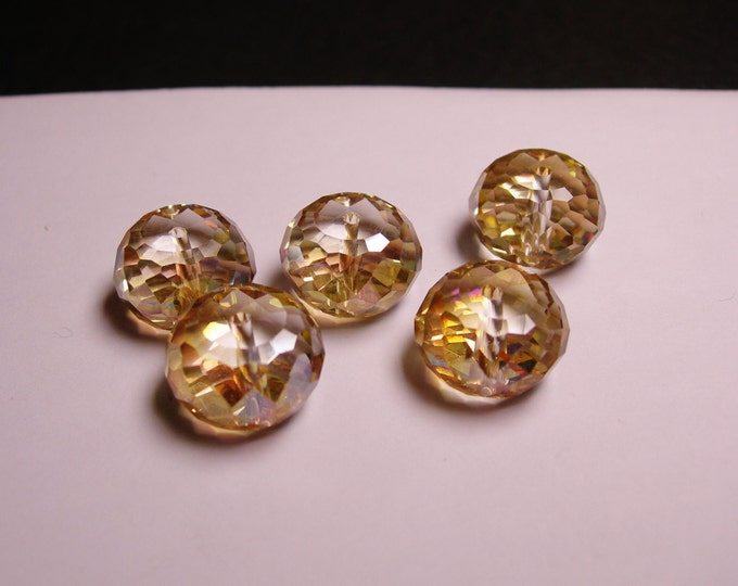Crystal faceted rondelle  - 6  pcs - 16mm x 10mm - AA quality - Ab finish - golden topaz  - AAABC11