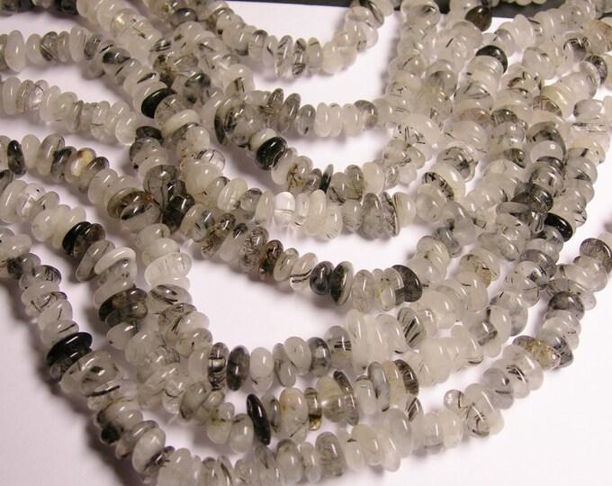 Tourmalinated quartz - bead rondelle pebble chip stone - A quality - full strand - NRG59