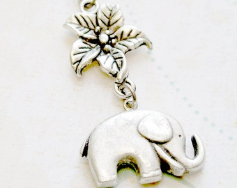 Elephant Necklace,Elephant Pendant Necklace, Antiqued Silver Elephant Necklace, Animal Jewelry - Iceblues