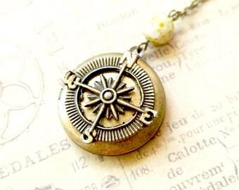 Compass Necklace, Brass Compass Locket Necklace, Compass Pendant Jewelry, Compass Photo Locket, Compass Round Locket