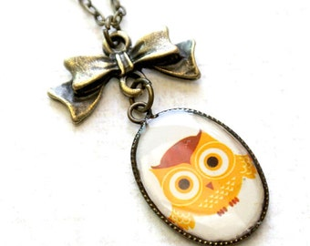 Owl Necklace,Owl Pendant with Bow Necklace