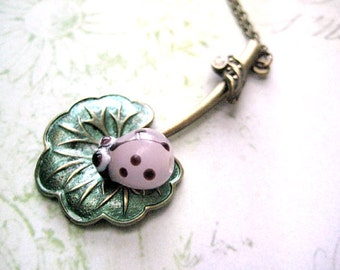 Pink Ladybug Necklace with lotus pendant-Lotus flower dainty necklace-Layering necklace for women-Insect jewelry gift for her