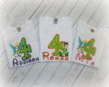 Girls or Boys Birthday Green Fairy Shirt Pink or Purple Princess Bodysuit Top Pick Size, Name, Number, Colors FREE PERSONALIZATION Monogram