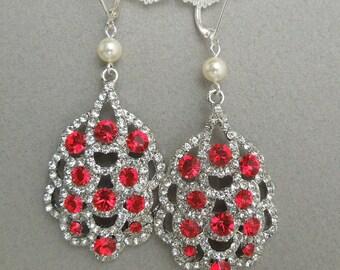 Ivory swarovski pearl Bridal Earrings Rhinestone Wedding Earrings Chandeliers Earrings swarovski pearl red crystal teardrop earrings SUSANE