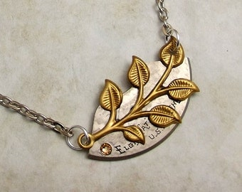 Steampunk Leaves Necklace, Pocket Watch Plate, Brass and Stainless Steel