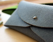 Pure & Thick Merino Wool Felt Clutch in Gray, Red or Green - Utility Bag Origami Purse