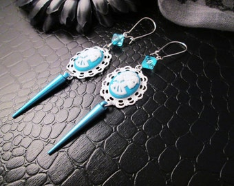 White and Teal Lady Death Cameo Spike dangle charm earrings