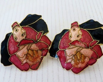 Cloisonne Vintage Flower Clip On Earrings, Cloisonne Gold Plated, Copper, Red, Rust, Gold Floral Earrings,  Etsy Vintage Jewelry Team