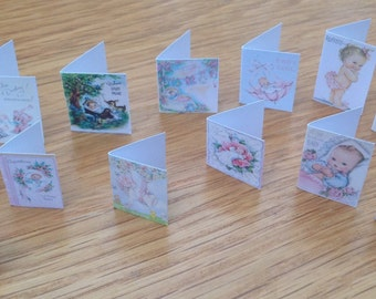 Dolls House Miniatures -  baby girl Greetings cards (vintage style)