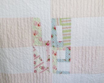 SALE Modern Baby GIrl Quilt, Modern Crib Quilt, Wrapped in Love Baby Girl Quilt, Shabby Chic Baby Girl Quilt Blankets & Quilts