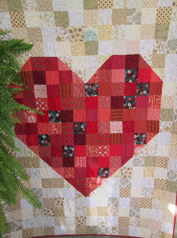 Custom Wedding Quilt, Anniversary Quilt, Modern Heart Quilt, Gift Idea ...