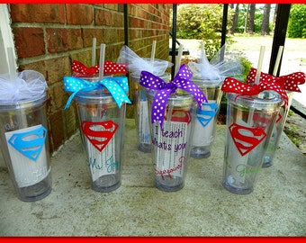 I teach whats your Superpower Personalized tumbler with straw with name