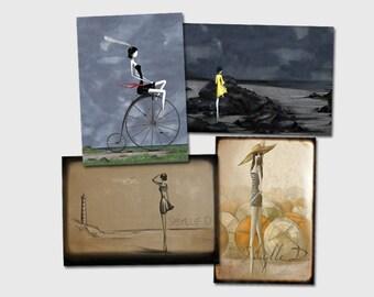 Set of 4 postcards - Bretagne #3 - 15x 10 cm print on Bristol paper