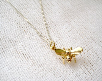 Sterling silver necklace with golden bee - Honey Dance
