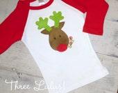 Reindeer Applique Raglan Sleeve Shirt Tee Christmas Applique Personlized Monogrammed