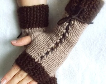 Knit Wrist  Warmers Brown tones Fingerless Corset  Gloves
