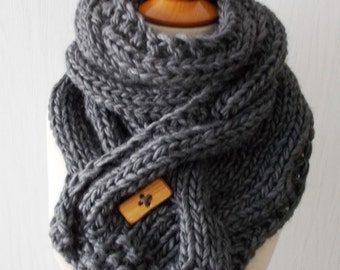 Chunky Scarf Handknit Big Cowl Extra Thick Cabled Soft  in Dark Grey Winter Accessory Men Women Unisex