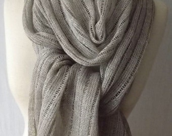 Linen Scarf Shawl Knitted Natural Summer Wrap in Light Grey