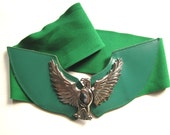 Vintage chunky green metal and leather elastic belt eagle 1990
