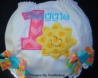 PERSONALIZED 1st Birthday Diaper Cover Bloomers - Sun Birthday-Sunshine Diaper Cover-Appliqued Number and Sun in Hot Pink Chevron Yellow Dot