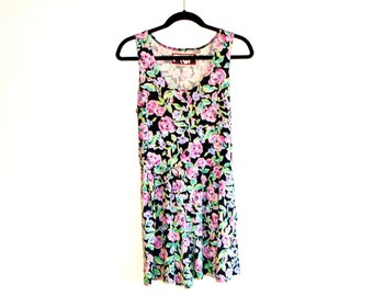 Vintage 90's Floral Jersey Romper with Button-Down Tank-Top and Pleated Shorts by O-Zone