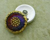 Czech Glass Buttons Dark Blue Violet Amber Daisy Flower Button Shank Clothing Sewing Clothes