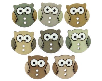 Jesse James Buttons Button  Embellishments Sew Cute Owls Owl Night Birds