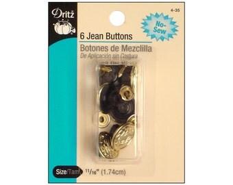 Dritz Jean Buttons Gilt No Sew Jean Shank Tack 435