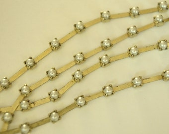 Vintage Swarovski 3mm Pearl and Brass Chain (1) Foot
