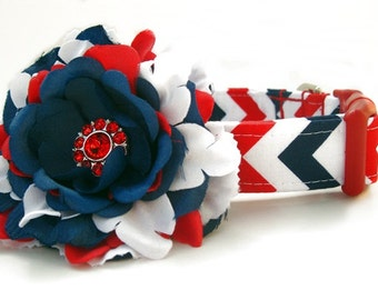 Red White and Blue Chevron Dog Collar with Flower Accessory
