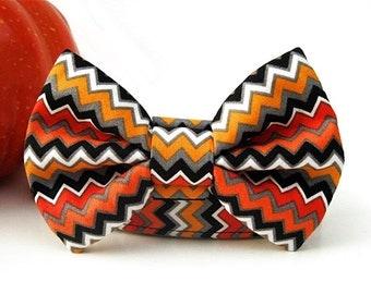 Halloween Zig Zag Bow Tie Dog Collar with Nickel Plate Hardware