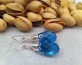 Aqua Blue Glass Crystal Tear Drop EARRINGS Feminine Sophisticated Jewelry Fall Winter