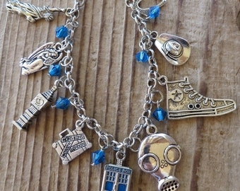 Doctor Who Ninth-Tenth-Eleventh Doctor Inspired Charm Bracelet