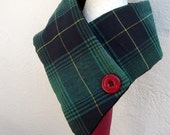 Men's plaid fabric buttoned scarf  warm lined padded
