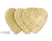 Gold Heart Doilies / Set of 12