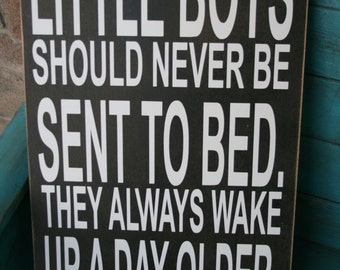 Boys Bedroom Decor,Boys Room, Boys Nursery Decor, Peter Pan wall decal, Baby Gift, Boy Gift, Little Boys Should Never Be Sent to Bed Sign