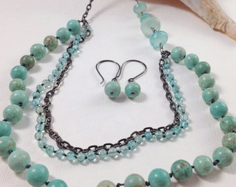 Turquoise Stone, Apatite, and Black Chain Multi-strand Necklace and Matching Earrings