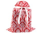 Large Cloth Gift Bag in Red Damask Fabric for Christmas, Valentine's Day, Bridal Shower, or Any Occasion