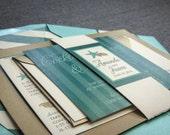 Beach Wedding Invitations, Destination Wedding Invitations, Teal, Aqua, Green, Gold, Starfish and Shell - Flat Panel, No Layers, v1 -DEPOSIT