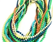 BRICK white BLUE Green Yellow Neon Pearl OLD Plastic Molded Long Necklace 1960s 70s Authentic Vintage Jewelry artedellamoda talkingfashion