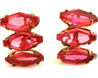 STERLING marked ROSE Pink Coffin Rare Rhinestone Six sided Glass Stones screwback Earrings 30s 40s Authentic Genuine Gold Plated Vermeil