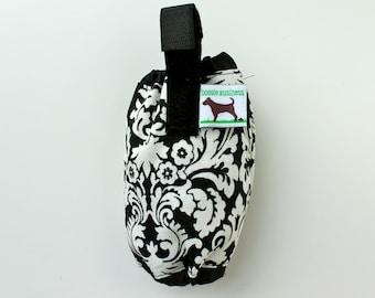 Dog Waste Bag Holder - Eco Friendly, Reuse Your Shopping Bags - Black white damask