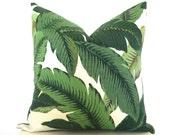 Palm Print Pillow Cover - Palm Leaf Pillow - Green - Dark Green - Light Green - Beverly Hills Outdoor Pillow Cover Beach Patio