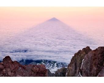 Mount Hood, Mountain Shadow, Portland, Oregon, Fine Art Photo Print, Cascades, Volcano, Clouds Below, Alpine, Hiking, Climbing, Sunrise