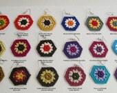 SALE Buy 2 get 1 Free - Boho Chic Granny Hexagon Crochet Earrings - Colorful earrings - Retro Fashion - Granny square earrings
