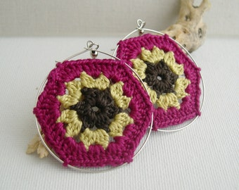 Boho Chic Granny Hexagon Crochet Earrings - Fuchsia Old Gold Dark Brown earrings - Retro Fashion colorful earrings - Girlfriend present