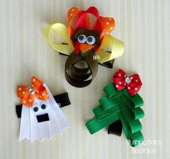 Holiday Hair Clip Trio- Halloween- Thanksgiving- Christmas- Ghost- Turkey- Christmas Tree-