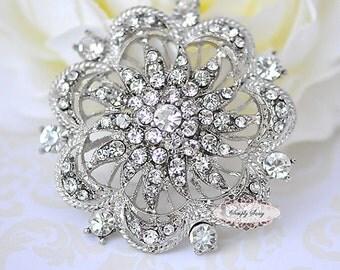 Rhinestone Brooch Components - Flat Back Rhinestone Embellishments - Rhinestone Jewelry - Wedding - Brooch Bouquet Supplies RD74